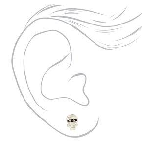 Sterling Silver Mummy Stud Earrings,