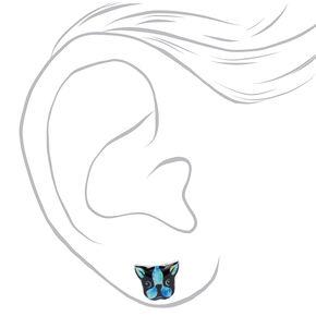 Tie-Dye Dog Stud Earrings,