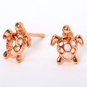18kt Rose Gold Plated Turtle Stud Earrings,