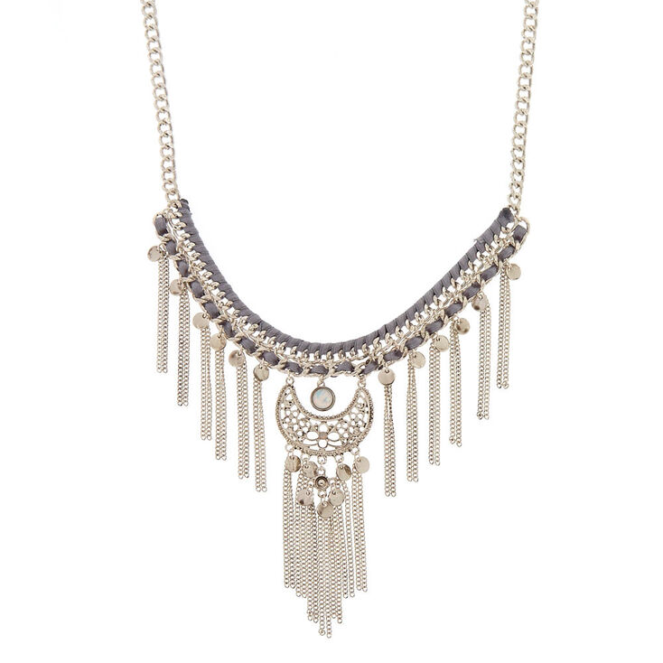 Silver-Tone Chain Statement Necklace,