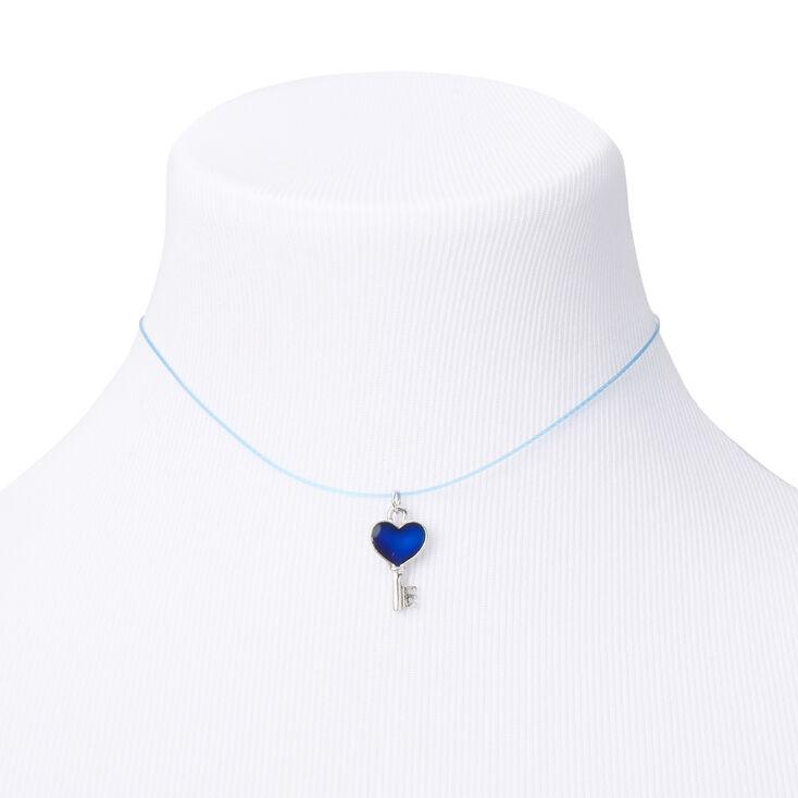 Mood Heart Key Illusion Pendant Necklace,
