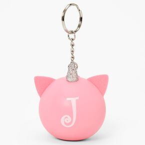 Initial Unicorn Stress Ball Keyring - Pink, J,