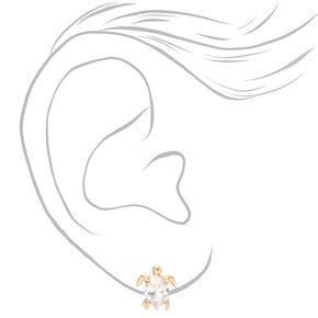Gold Cubic Zirconia Turtle Stud Earrings - 8MM,