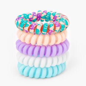 Pastel Tropical Spiral Hair Ties - 5 Pack,