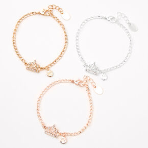 Best Friends Mixed Metal Tiara Chain Bracelets - 3 Pack,