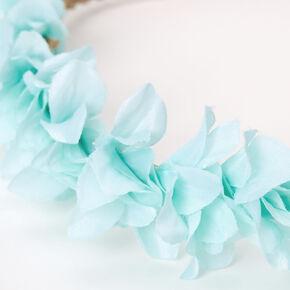Bandeau tressé avec pétales de fleurs - Vert menthe,