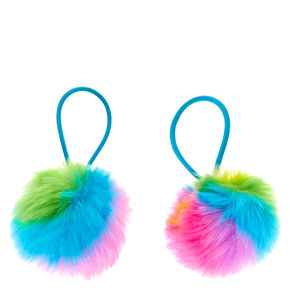 Rainbow Pom Pom Hair Bobbles - 2 Pack,