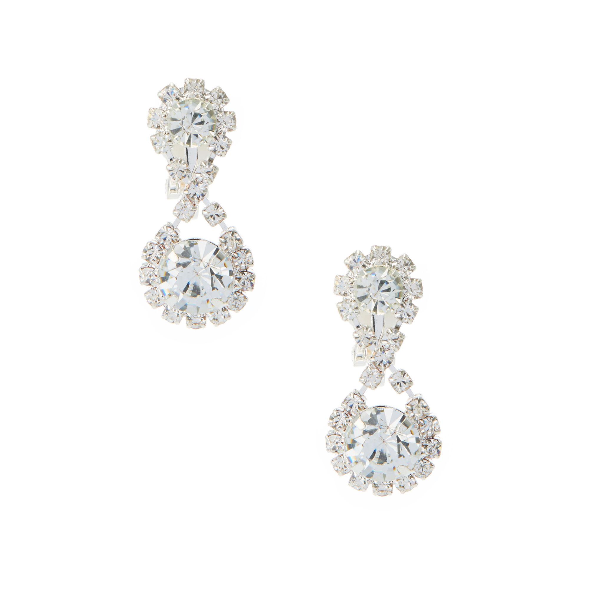 Glam Silver Clip On Drop Earrings