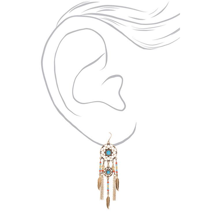 """Gold 3"""" Beaded Dreamcatcher Drop Earrings - Blue,"""