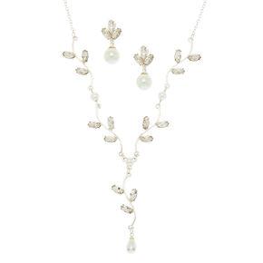 Silver Pearl & Glass Rhinestone Jewellery Set,