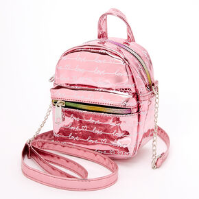 Metallic Love Script Mini Backpack Crossbody Bag - Pink,