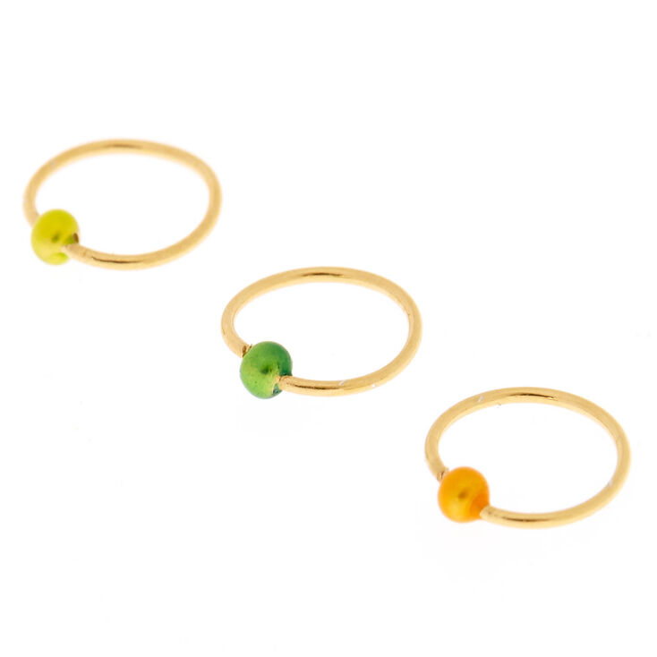 Sterling Silver Jamaica Ball Gold Nose Rings 3 Pack Claire s US