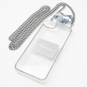 Silver Rhinestone Phone Case With Chain - Fits iPhone 6/7/8/SE,
