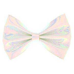 Holographic Mini Hair Bow Clip - White,