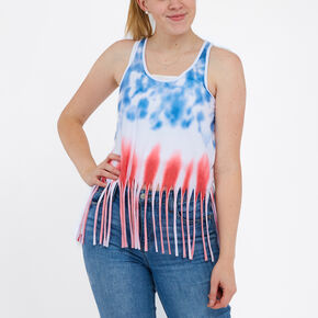 Red, White, And Blue Tie Dye Fringe Tank Top,