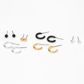 Mixed Metal Ball Stud & Hoop Earrings - 9 Pack,