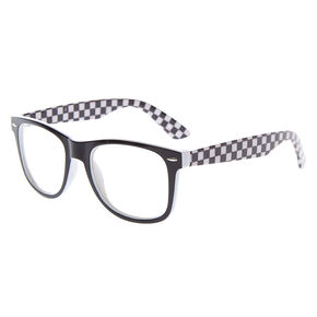 Chequered Retro Clear Lens Frames - Black,