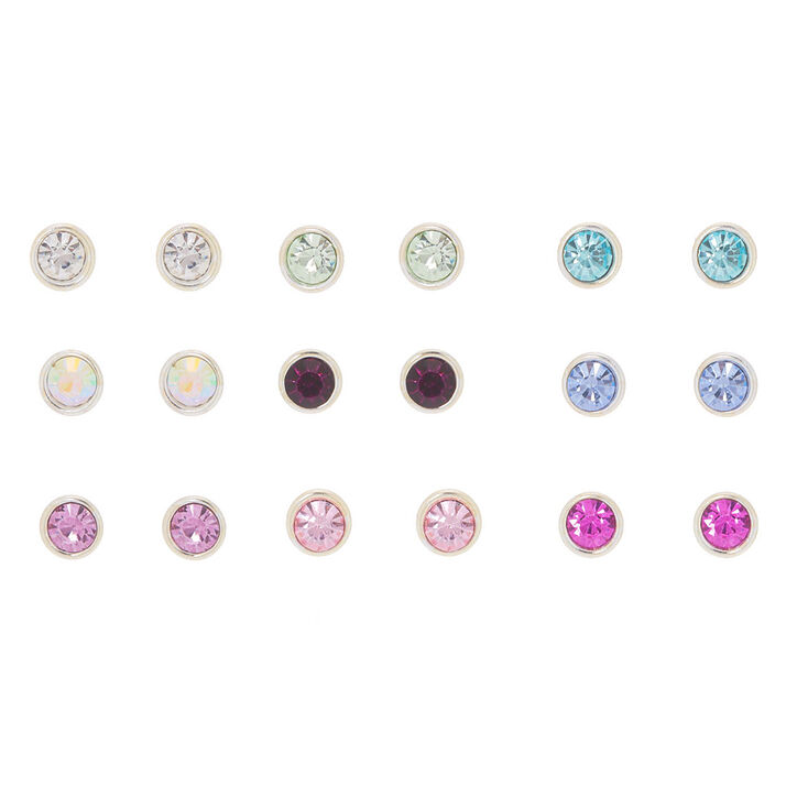 95b43e795 Crystal Stud Earrings - 9 Pack, Multi-Coloured | Claire's
