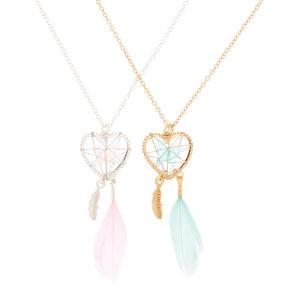 Best Friends Butterfly Dreamcatcher Pendant Necklaces - 2 Pack,