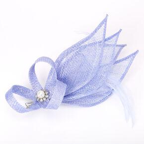 Embellished Teardrop Fascinator Hair Clip - Dusty Blue,