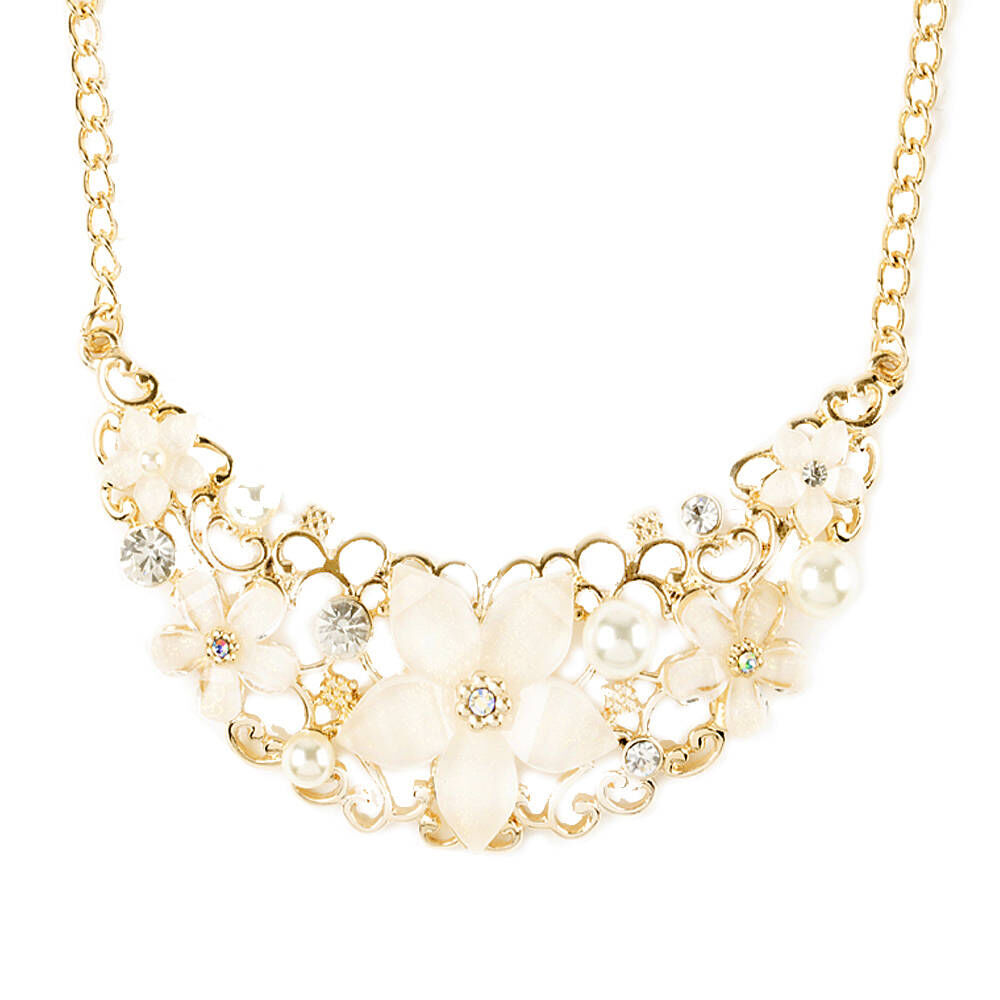 Ivory Glitter Stone Flowers and Gold Filigree Bib Necklace Claires US