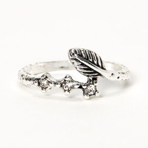 Silver Burnished Leaf Wrap Midi Ring,