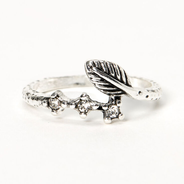 Silver Burnished Leaf Wrap Midi Ring,