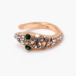 Gold Embellished Snake Ear Cuff - Green,