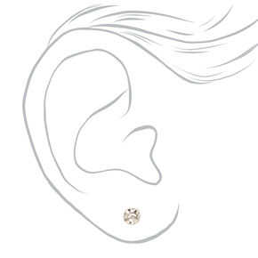 Silver Graduated Round Magnetic Stud Earrings - 9 Pack,
