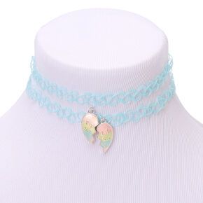 Big & Lil Sis Glow In The Dark Pastel Heart Tattoo Choker Necklaces - 2 Pack,