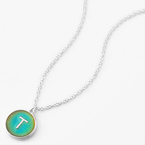 Silver Initial Mood Pendant Necklace - T,
