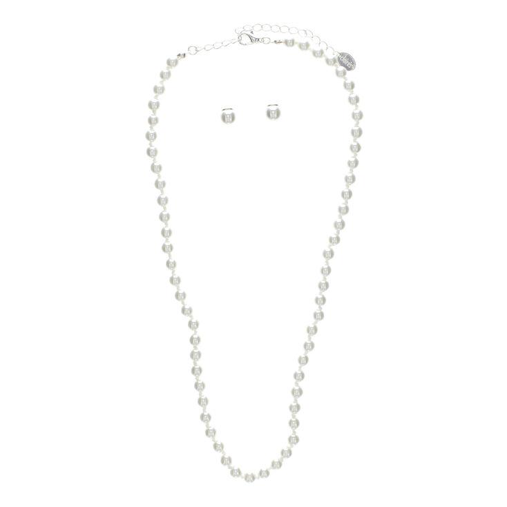 Ensemble collier et boucles d'oreilles avec perle d'imitation,