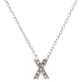 Silver Embellished Initial Pendant Necklace - X,