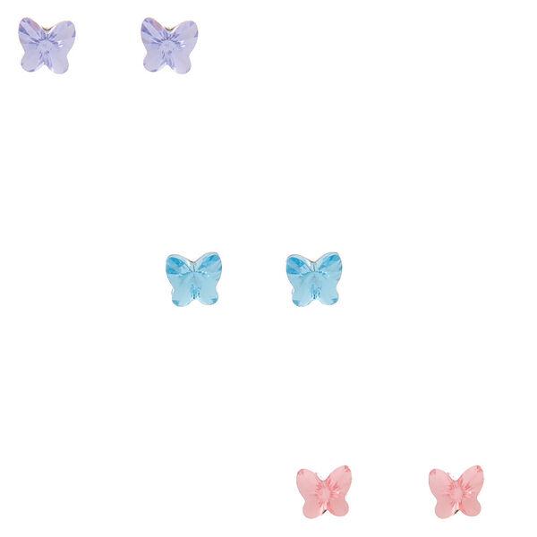 Claire's - sterling swarovski crystal butterfly stud earrings - 1