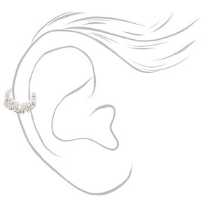 Silver Crystal Twisted Ear Cuffs - 3 Pack,