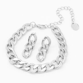 Silver Chain Link Jewellery Set - 2 Pack,