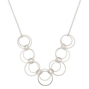 Collier volumineux à anneaux couleur argenté,