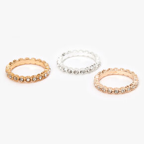 Mixed Metal Embellished Studded Midi Rings - 3 Pack,