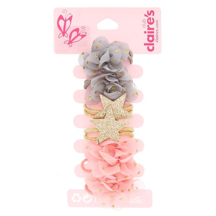 Claire's Club Chiffon Flower & Star Hair Bobbles - 6 Pack,