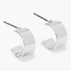 Silver 10MM Flat Hoop Earrings,