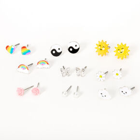Silver Good Vibes & Sunshine Stud Earrings - 9 Pack,