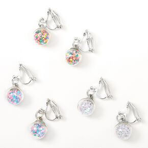 "Silver 0.5"" Glitter Shaker Clip On Drop Earrings - 3 Pack,"