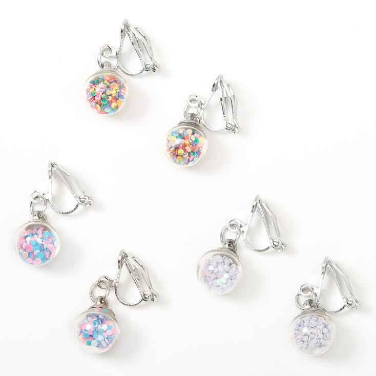 """Silver 0.5"""" Glitter Shaker Clip On Drop Earrings - 3 Pack,"""