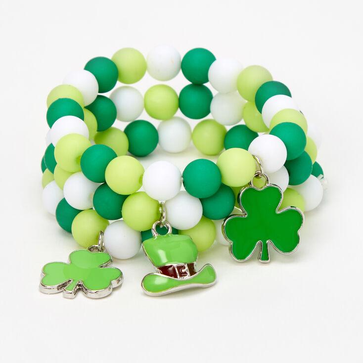 Bracelets élastiques perlés Saint-Patrick - Lot de 3,