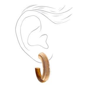 Gold 30MM Slinky Wooden Hoop Earrings,
