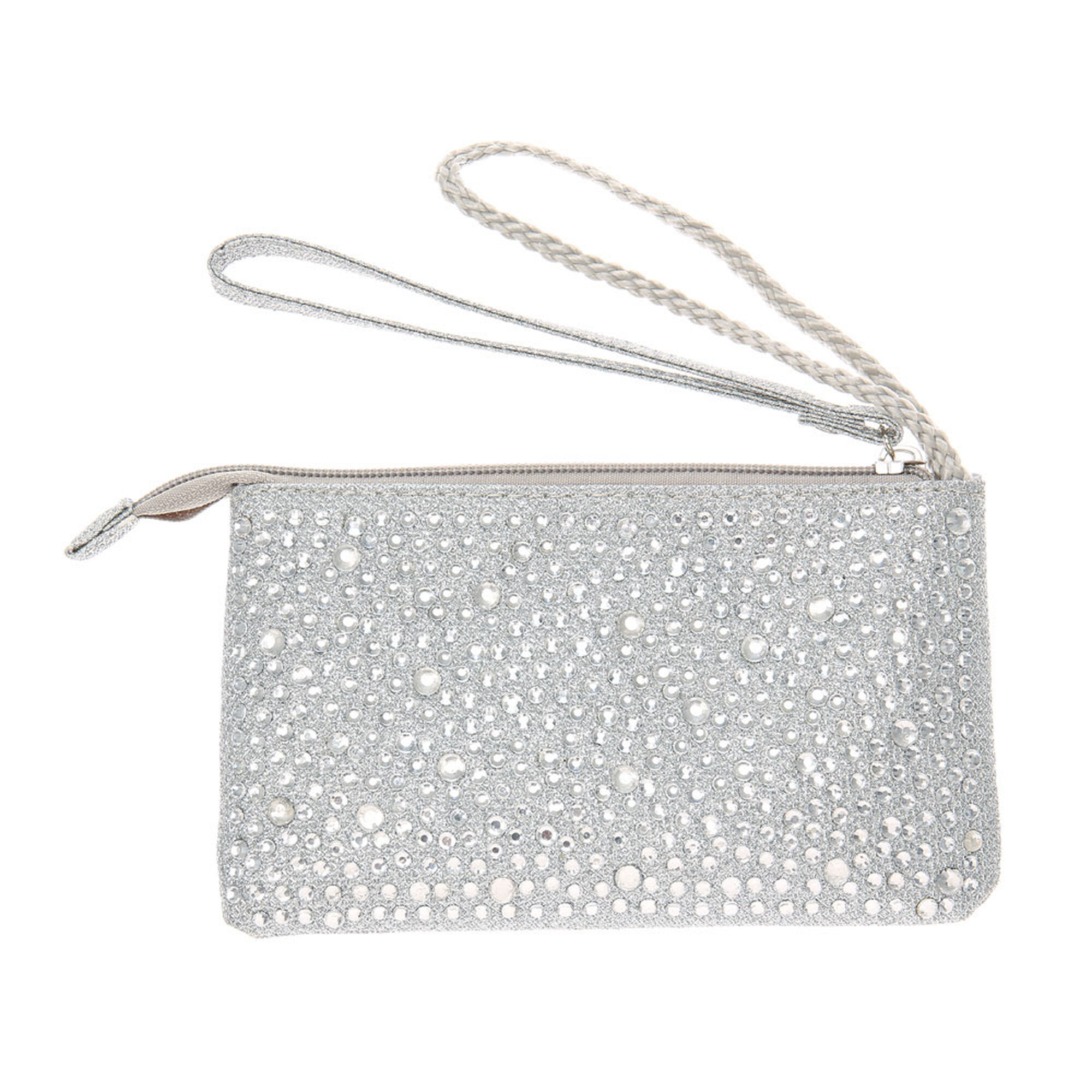 Silver Bedazzled Wristlet