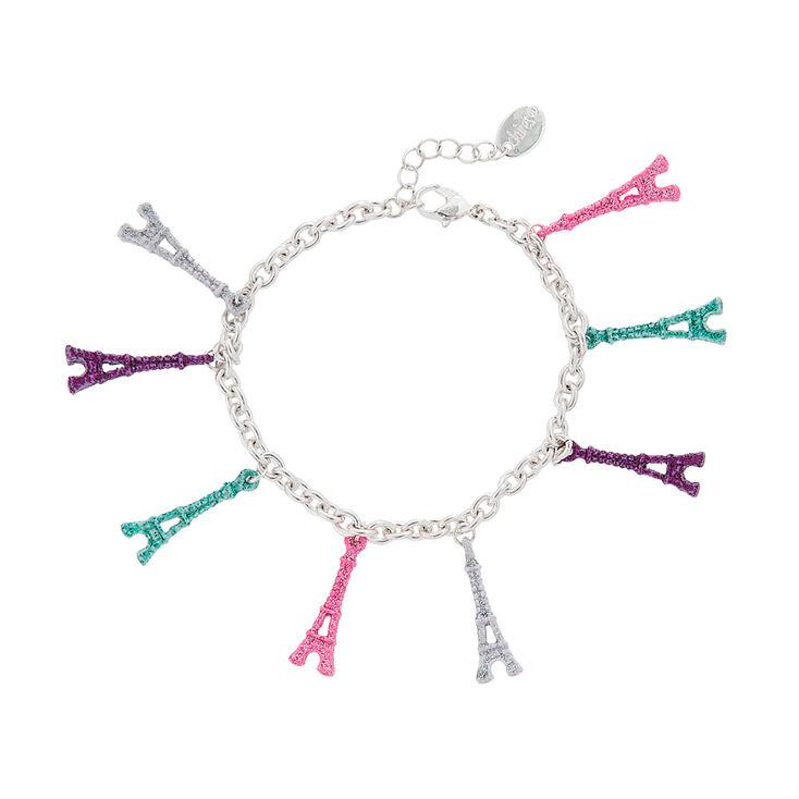 Pastel Glitter Eiffel Tower Charm Bracelet