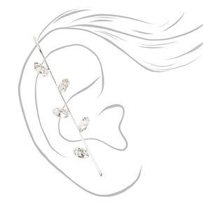 Silver Crystal Leaf Ear Cuff Pin,