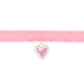 Claire's Club Shakey Heart Choker Necklace - Pink,
