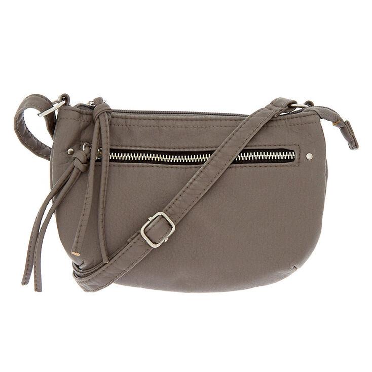 da3ae785a5 Faux Leather Satchel Crossbody Bag - Gray